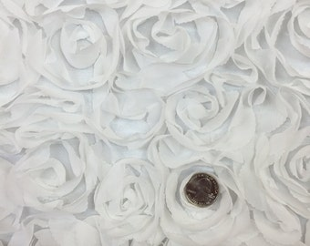 """60"""" w White fabric rosettes on mesh Fabric by the yard"""