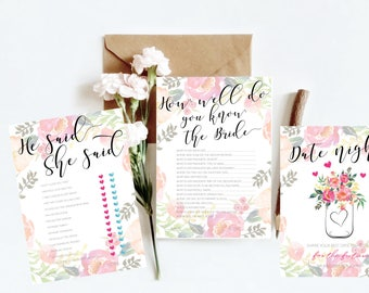 Hens games | Printable | DIY | Watercolour Floral | pink and orange | Print yourself | hens day