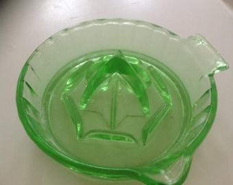 Green Vaseline Glass Citrus Squeezer/Reamer