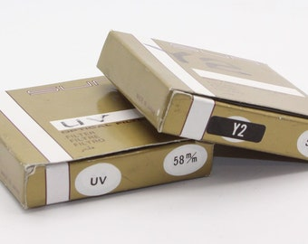 Sun Vintage Y2 and UV 58mm Optical Lens Filters in original boxes and cases - Very good condition