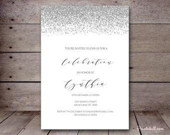 DIY Silver Confetti Custom Invitation, Baby Shower Invitation, Bridal Shower, Birthday Party Invitations, printabell bs149 bs89 sn28