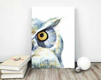 owl painting , owl watercolor print , bird watercolor , owl illustration , owl home decor , owl printable art