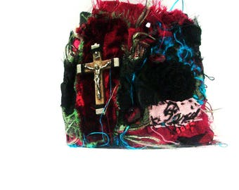 Wearable art, textile art, cuff, handmade cuff, wrist cuff, fabric cuff, textile cuff, cuff bracelet, Gothic, Steampunk, rustic, Victorian