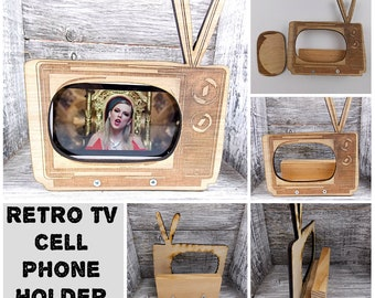 Retro TV Cell Phone Holder - wood Old Fashioned table display