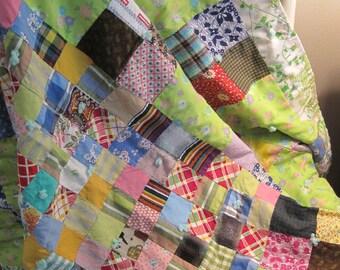 Adorable Vintage Cotton Patchwork Baby or Lap Quilt