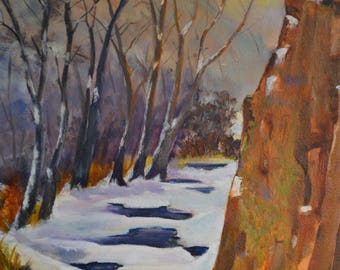 Oil painting original fine art painting landscape painting original oil painting canyon snow scene snowy painting winter art Slater canyon