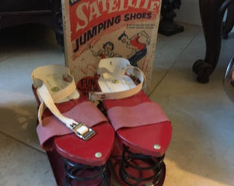 BEST never used! Box and Shoes/ ATOMIC/Satellite Jumping Shoes/ 1950/ Super condition!Pop Mic Century Modern Vintage