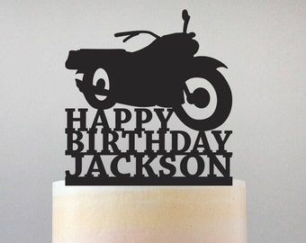 Happy Birthday Motorcycle Cake Topper with Name - Standard Acrylic - Birthday Cake - 152