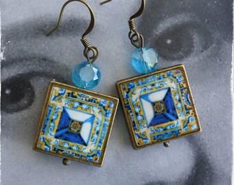 Earrings Tile Portugal Azulejo Arab Gold Blue Antique 17th Century  Tomar - Santa Iria Church Diamond Point  - Gift Boxed 971