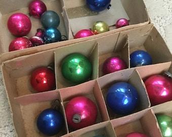 Vintage Christmas Miniature Ornament Balls Blue Gold Red Set of 30