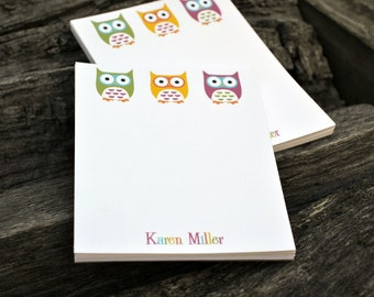 Personalized Notepads / Personalized Owl Notepads /Personalized Notebook / Personalized Note Pads/ Set of Notepads /  Set of 2 Owls Design