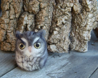 Needle felted Screech Owl-your choice of color