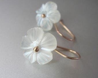 Carved Moonstone Flowers Solid 14k Gold Earrings