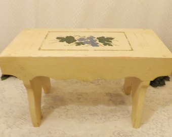 Vintage Hand Made Hand Painted Country Farmhouse Footstool Bench