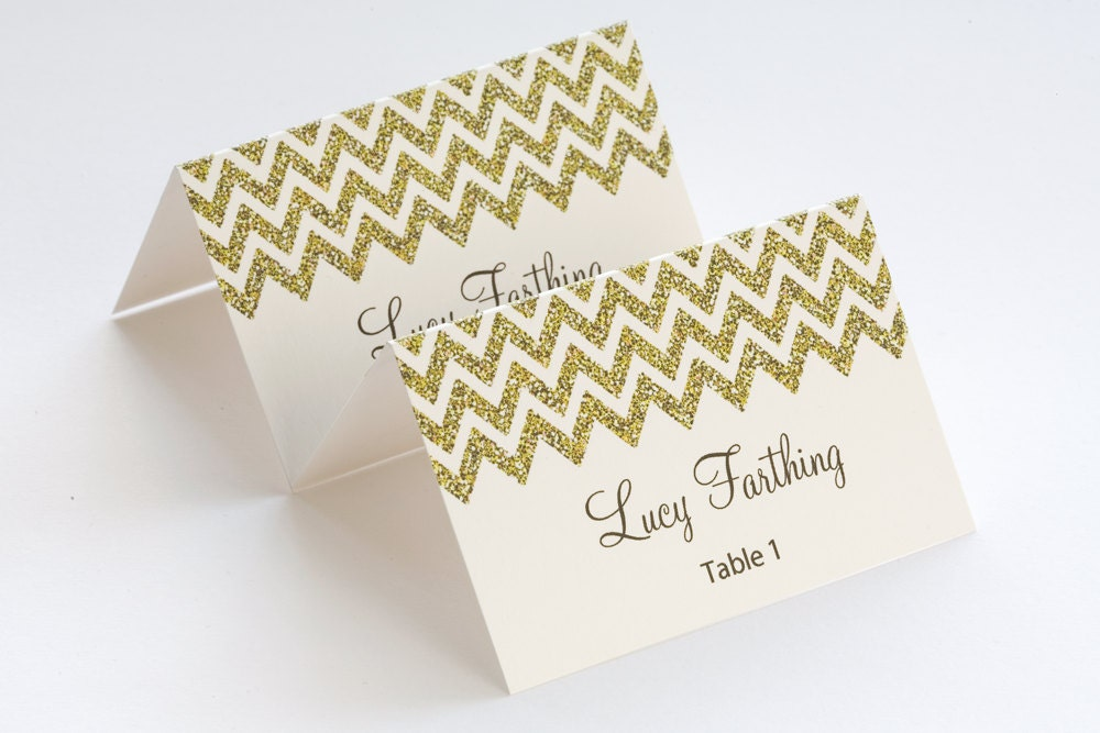 Gold Place Card Template Chevron Name Cards DIY - Wedding place card template word