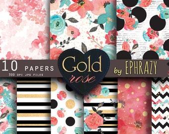 Rose digital paper. Floral digital paper. Roses digital paper. Shabby chic. Rose gold. Rose gold paper. Watercolor rose.