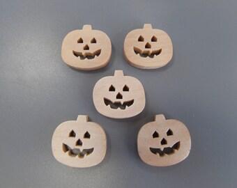 Pumpkin Wooden Halloween Buttons X 5