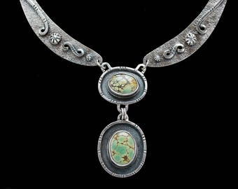 Wandering Spirit- Green Turquoise Necklace