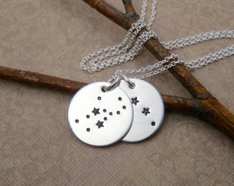 Constellation necklace - Cpuples, Mother's necklace, Kids birth signs - Custom constellations of your choice - Hand stamped sterling silver
