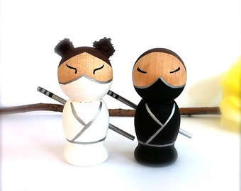 NINJA Wedding Cake Toppers 3D Ninja Cake Toppers Kokeshi Doll Personalized Semi Custom Wooden Wedding Cake Toppers Japanese Kokeshi Dolls