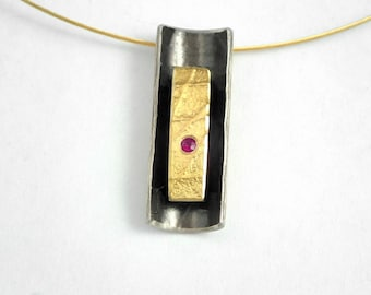 The bobsleigh! A geometric gold and oxidized silver pendant with a small ruby, Artisan necklace, Textured necklace, Rectangular necklace
