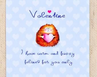 Cute Valentine Card, Valentine Card, Cute Cat Card, Cat Greeting Card, Valentine Cat Card, Cute Valentine Cat Card, Love Card