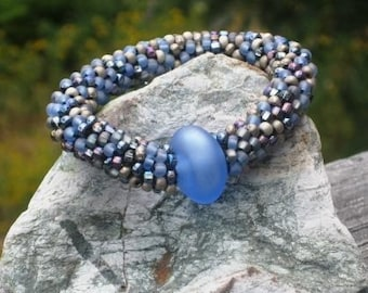 Sea Smoke bead crochet bracelet....FREE SHIPPING.........