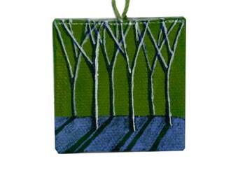 Lime Green Original Surreal Landscape Painting, Miniature Art, Lime Green Painting, Lime Green Landscape
