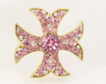 Pretty Sparkling Pink Maltese Cross Vintage Brooch by BSK, pink and clear crystals on goldtone.  1960s Glamour - Mad Men Style