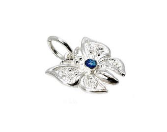 Sterling Silver & Crystal Sapphire Filigree Butterfly Charm For Bracelets