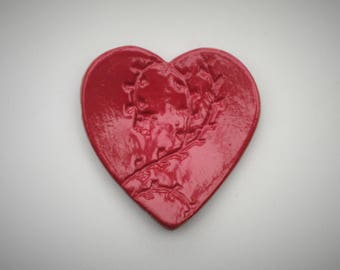 Stoneware Heart Shaped Ring Dish with decorative imprint. Mothers' Day gift. Red.