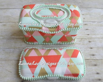 Set of 2, Large Nursery Wipe Case and Travel Baby Wipe Case, Retro Triangles in Coral Mint and Gold, Large Case and Travel Wipe Case