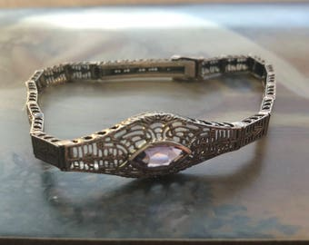 Gorgeous Antique Sterling Silver Bracelet with Amethyst