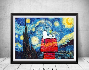 Snoopy Print, Starry Night Print, Van Gogh, Snoopy Art, Snoopy Wall Art Decor, Snoopy Poster, Kids Decor,  Children Art, Peanuts Art, Prints