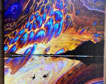 Fluid Landscapes,  Sunrise and Birds  - Canvas Print Landscape Painting