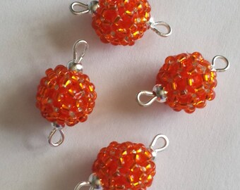4 beads seed connectors (2.5 mm) orange silver lined