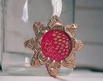 Resin Pendant Focal Bead, Bronze Metal Clay Flower Charm, Unique Bronze Charm, Divine Spark Designs, Boho, SRA