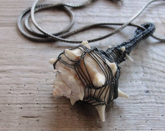 Caged Seashell Necklace Sterling Silver Kazaziye Handwoven Fine Silver Jewelry