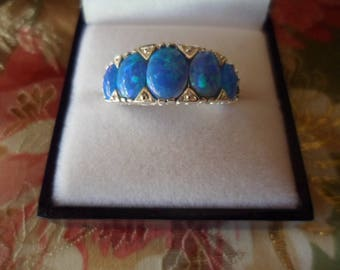 Stunning Antique Art Deco Vintage Sterling Silver Ring with 5 oval shaped graduated Blue Opals ring size 8 or Q