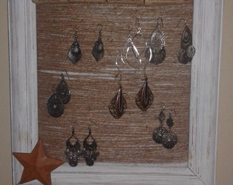 Wood frame Earring/ jewelery   holder
