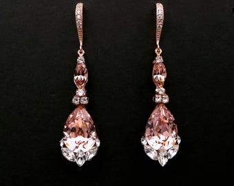 bridesmaid gift prom Swarovski vintage rose blush pink teardrop foiled crystal rhinestone drop with cubic zirconia rose gold hook earrings