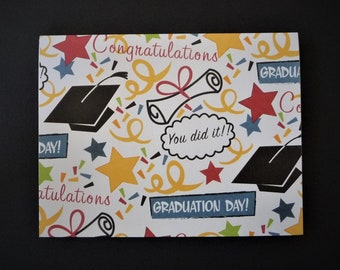 "Graduation note card, blank inside, 4-1/4"" x 5-1/2"", Congratulations, Stationery"