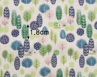 Forest house 100% Cotton Fabric / BY THE YARD / tree houses trees / digital print / quilting / Ykfabrics DTP2/126*