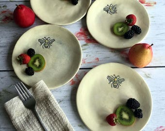 Ready to ship, Bee plates, stoneware side/salad/dessert plates by Leslie Freeman