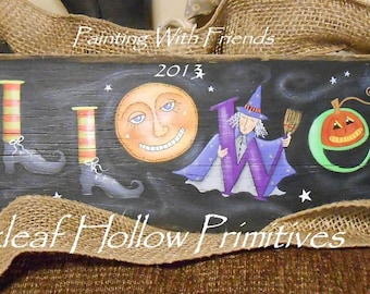 Halloween E Pattern Primitive Sign Terrye French ghost moon witch boots