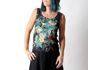 Floral silk tank top with colorful print, Summer sleeveless black tank top, Black and green top, Womens tops, Womens clothing, MALAM