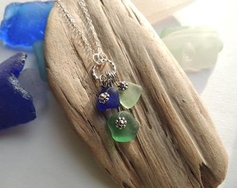 Cobalt, Teal and Aqua Sea Glass Necklace, Authentic Sea Glass