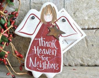 Neighbor Gift Salt Dough Angel Ornament