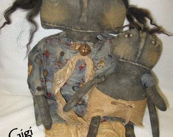 "Gigi and GooGoo 16"" & 12"" Primitive Black Doll and Baby IMMEDIATELY DOWNLOADABLE EPATTERN"
