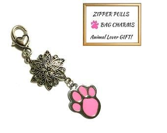 Silver Charm & Pink Paw Zipper Pull, Versatile Bag Dangle,Key Ring or Bag Charm,Anytime Gift, Zipper Charm, Jacket Decor, Zip Decor,